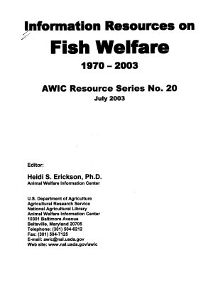 Information Resources on Fish Welfare, 1970-2003