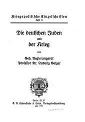 Die deutschen Juden und der Kreig