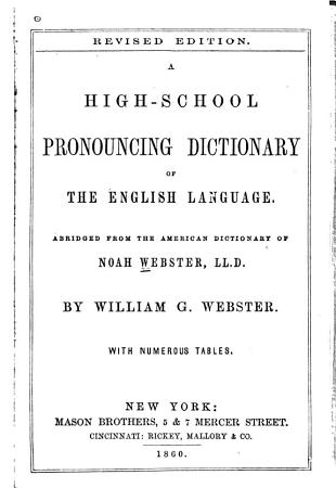 A High school Pronouncing Dictionary of the English Language PDF