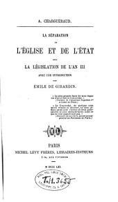 La séparation de l'église et de l'état sous la législation de l'an III.