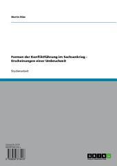 Formen der Konfliktführung im Sachsenkrieg - Erscheinungen einer Umbruchzeit