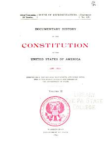Documentary History of the Constitution of the United States of America  1786 1870 PDF