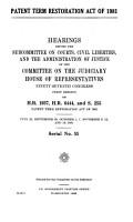Patent Term Restoration Act of 1981 PDF