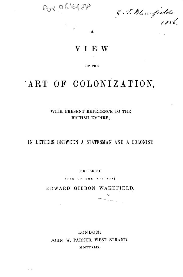 A View of the Art of Colonization
