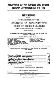 Department of the Interior and Related Agencies Appropriations for 1996  Secretary of Energy