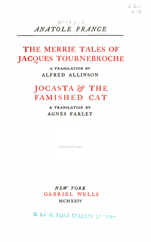 The merrie tales of Jacques Tournebroche. Jocasta & the famished cat