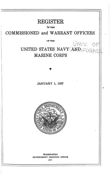 Download Register of Commissioned and Warrant Officers of the United States Navy and Marine Corps and Reserve Officers on Active Duty Book