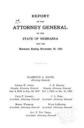 Report of the Attorney General of the State of Nebraska