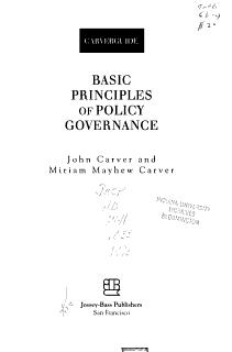 Basic Principles of Policy Governance Book