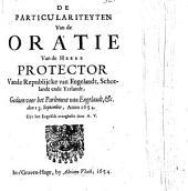 De particulariteyten van de oratie van de heere protector ... gedaen voor het parlement van Engelandt, &c. den 13. September, 1654. Overgheset door A.V.