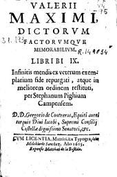 Valerii Maximi dictorum factorumque memorabilium libri bi [sic] IX