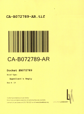 California. Court of Appeal (2nd Appellate District). Records and Briefs: B072789, Appellant's Reply