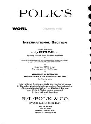 Polk s World Bank Directory