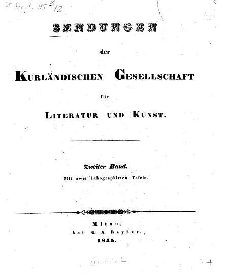 Sendungen der Kurl  ndischen Gesellschaft f  r Literatur und Kunst PDF