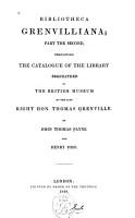 Bibliotheca Grenvilliana PDF