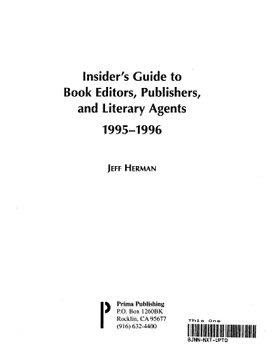 Insider's Guide to Book Editors, Publishers and Literary Agents, 1995-1996