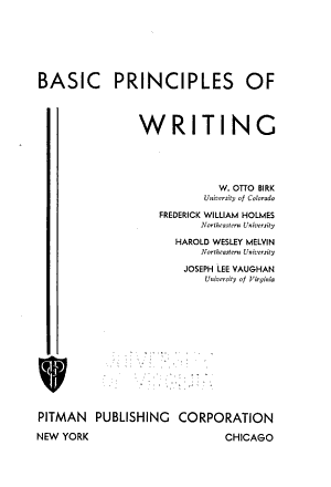 Basic Principles of Writing