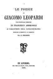 Le poesie di Giacomo Leopardi: con postille inedite di Francesco Ambrosoli ai Paralipomeni della batracomiomachia