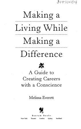 Making a Living While Making a Difference PDF