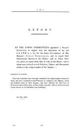 Report from the Select Committee of the House of Lords, Appointed to Inquire Into the Operation of the Act 3 & 4 Will. 4, C. 85, for the Better Government of Her Majesty's Indian Territories ...