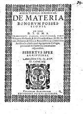 De materia bonorum possessionis