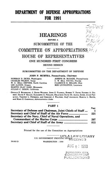 Department of Defense Appropriations for 1991  Secretary of Defense and Chairman  Joint Chiefs of Staff PDF