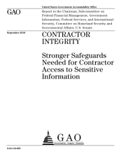 Contractor Integrity: Stronger Safeguards Needed for Contractor Access to Sensitive Information