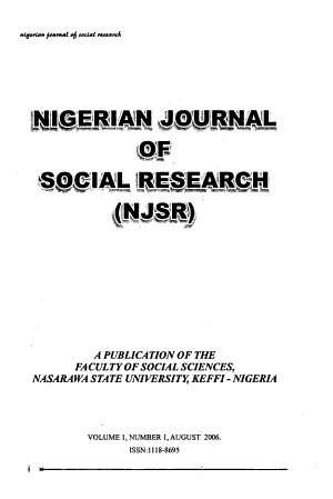 Nigerian Journal of Social Research PDF