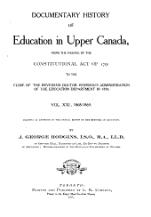 Documentary History of Education in Upper Canada: 1868-1869