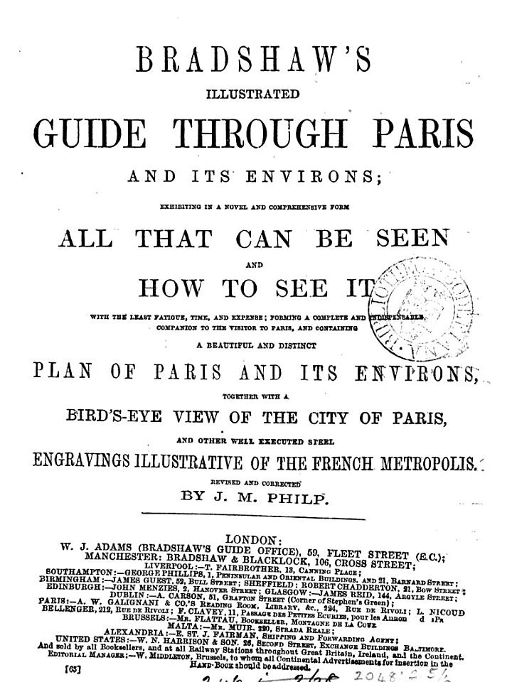 Bradshaw's illustrated guide [afterw.] Bradshaw's guide through Paris and its environs
