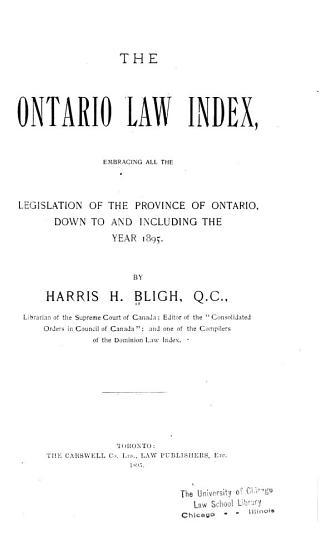 The Ontario Law Index PDF
