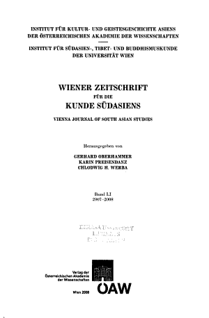 Vienna journal of South Asian studies
