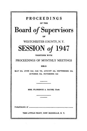 Proceedings of the County Board of Legislators of Westchester County  N Y  PDF