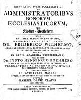 Disputatio iuris ecclesiastici de administratoribus bonorum ecclesiasticorum PDF