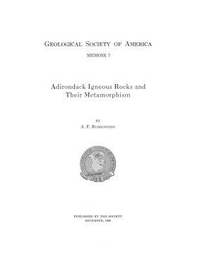 Adirondack Igneous Rocks and Their Metamorphism PDF