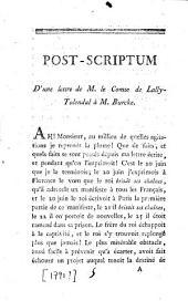 Post-scriptum d'une lettre de M. le comte de Lally-Tolendal à M. Burke