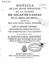 Noticia de las aguas minerales de la fuente de Solan de Cabras en la sierra de Cuenca