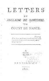 Letters of Adelaide de Sancerre: To Count de Nance ...