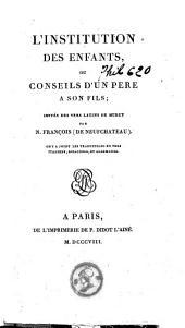 L'institution des enfants ou conseils d'un père à son fils, imités des vers latins de Muret