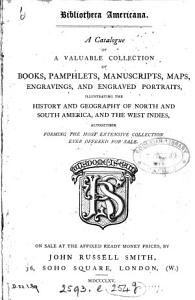 Bibliotheca Americana  A catalogue of a collection of books  pamphlets   c   for sale   With  PDF