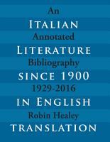 Italian Literature since 1900 in English Translation 1929 2016 PDF
