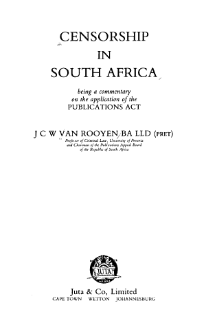 Censorship in South Africa PDF