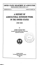A history of agricultural extension work in the United States, 1785-1923