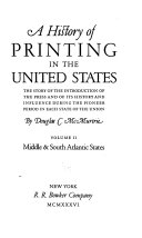 Download A History of Printing in the United States  Middle and South Atlantic states Book