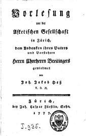 Vorlesung vor der asketischen Gesellschaft in Zürich