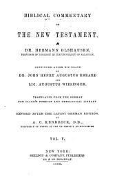 Biblical Commentary on the New Testament: Translated from the German for Clark's Foreign and Theological Library, Volume 5