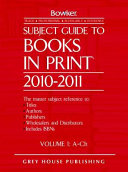 Subject Guide to Books in Print 2010 2011 PDF