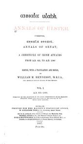 Annala Uladh: A.D. 431-1056. Ed. by W. M. Hennessy
