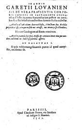 De vera praesentia corporis christi in sacramento eucharistiae ... classes IX. ...