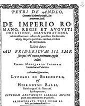 De Imperio Romano, Regis et Augusti creatione ... libri duo